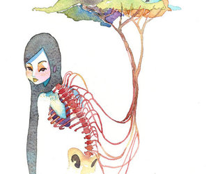 long hair, spine, and trees image