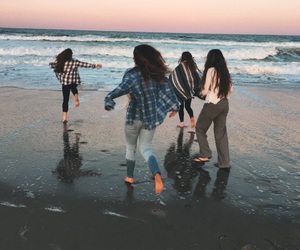 friends, ocean, and sand image