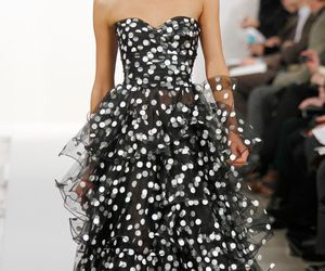 ball gown, oscar de la renta, and white dots image