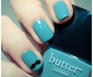 nails, mustache, and blue image