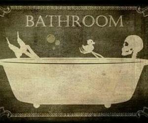 gothic decor, bathroom sign, and skeleton decor image