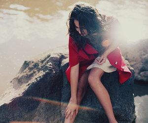 girl, red, and rock image