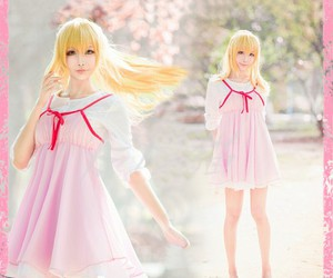 pink white dress, blonde hair girl cosplay, and your lie in april image