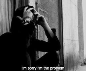 sad, problem, and black and white image