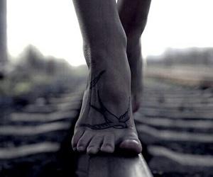 tattoo, bird, and feet image