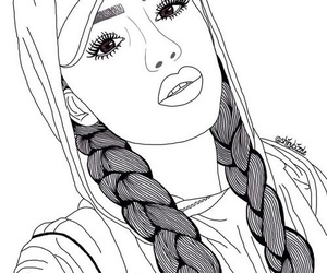 outline, girl, and lips image