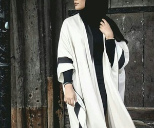black n white, habiba da silva, and hijab image