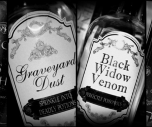 magic, black and white, and potion image