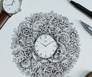 black, clock, and time image