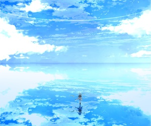 anime, blue, and scenery image