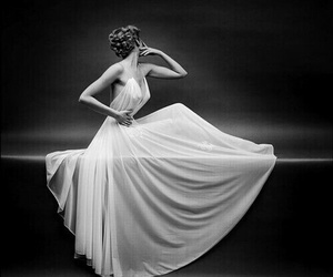 dress, black and white, and woman image