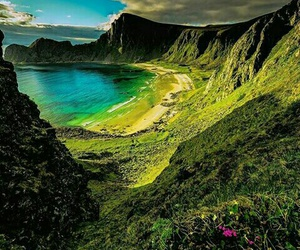 nature, beach, and mountains image