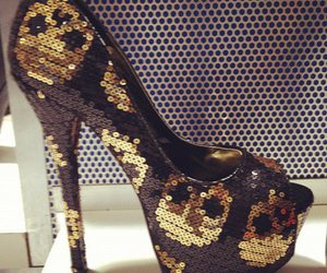 shoes, high heels, and skull image
