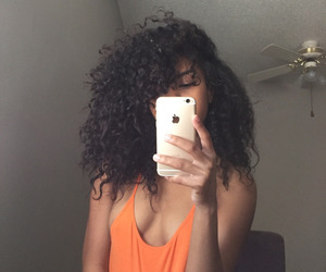girl, iphone, and curly hair image