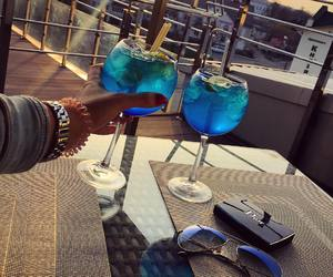 drink, blue, and cocktail image