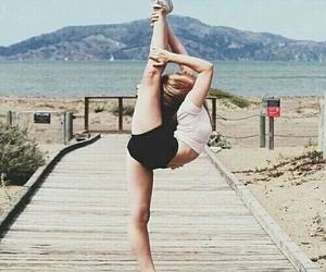 gymnastics, girl, and beach image