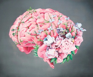 brain, art, and flowers image