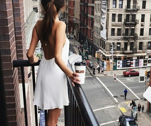 brown hair, coffee, and city image