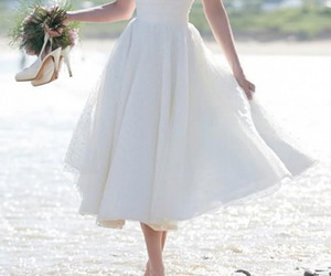 tea length, simple wedding dress, and cheap wedding dress image