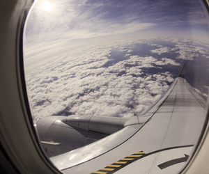 airplane, sky, and clouds image