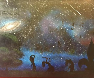 acrylic, belly dancer, and galaxy image