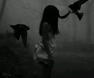 girl, black, and alone image