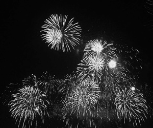 black and white and fireworks image