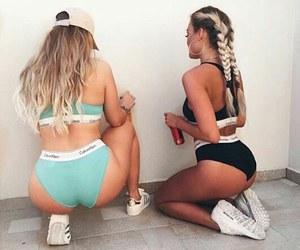 braids, girls, and underwear image