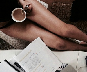 books, coffee, and fit image