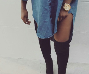 gold watches, black knee high boots, and blue denim shirts image