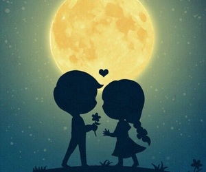 love, couple, and moon image