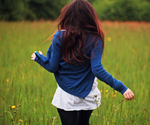 girl, blue, and run image