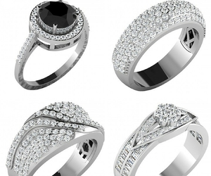 diamond ring, engagement ring, and cluster ring image
