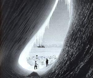 ice, black and white, and iceberg image
