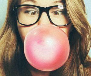 girl, glasses, and gum image