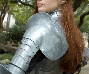armor, girl, and redhead image