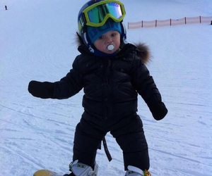 baby, snow, and snowboard image