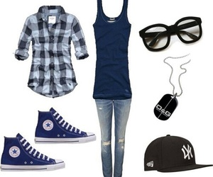 outfit, blue, and converse image