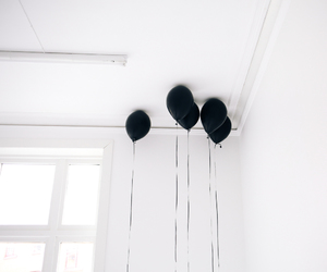 balloons, black, and black and white image