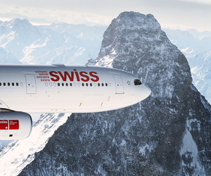 airline, airplane, and Alps image