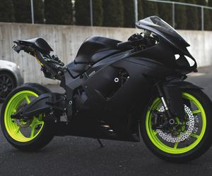 motorcycle, black, and green image