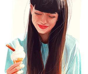 girl, ice cream, and illustration image