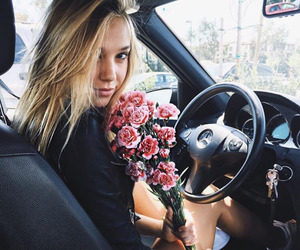 flowers, alexis ren, and car image