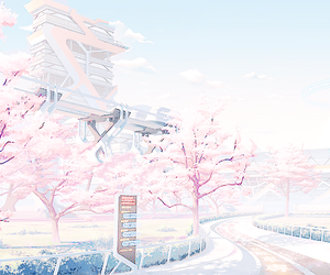 pastel, pink, and scenery image