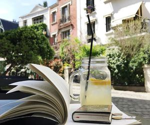 book, city, and drink image