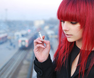 girl, cigarette, and red hair image