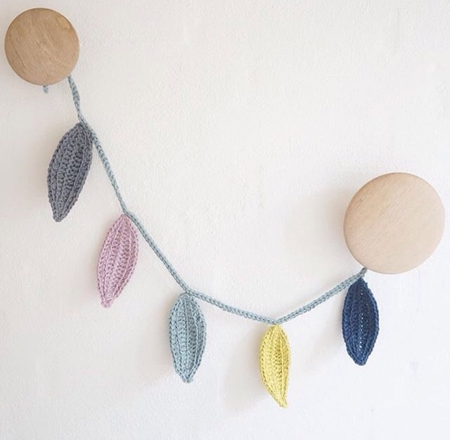 crocheting and leaf image