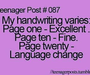 teenager post, funny, and handwriting image