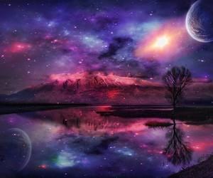 moon, pink, and galaxy image