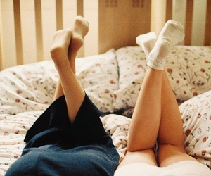 vintage, legs, and bed image
